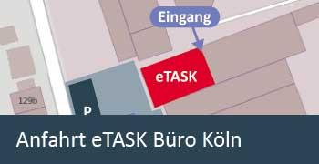 Anfahrt und Parkmöglichkeiten eTASK Büro Köln