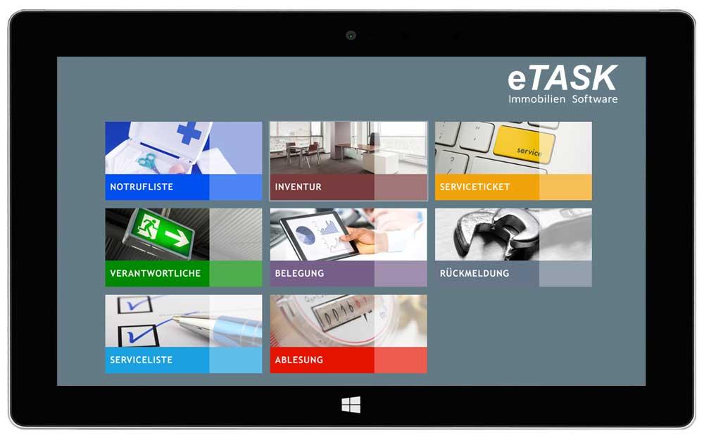 eTASK Inventur Software - Startseite der Inventur App