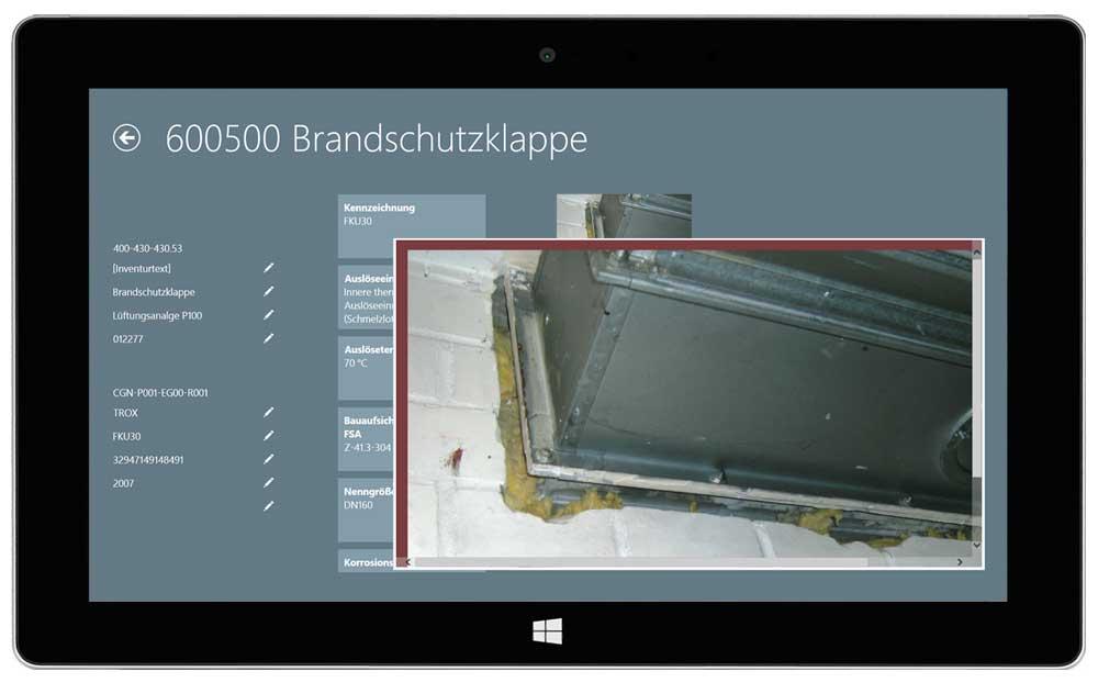 eTASK Inventur Software - Datenblatt einer technischen Anlage mit Fotodokumentation